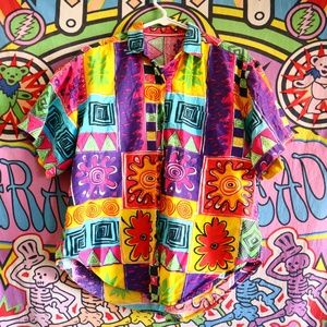 Vintage 90s Bright Abstract art button up - Small